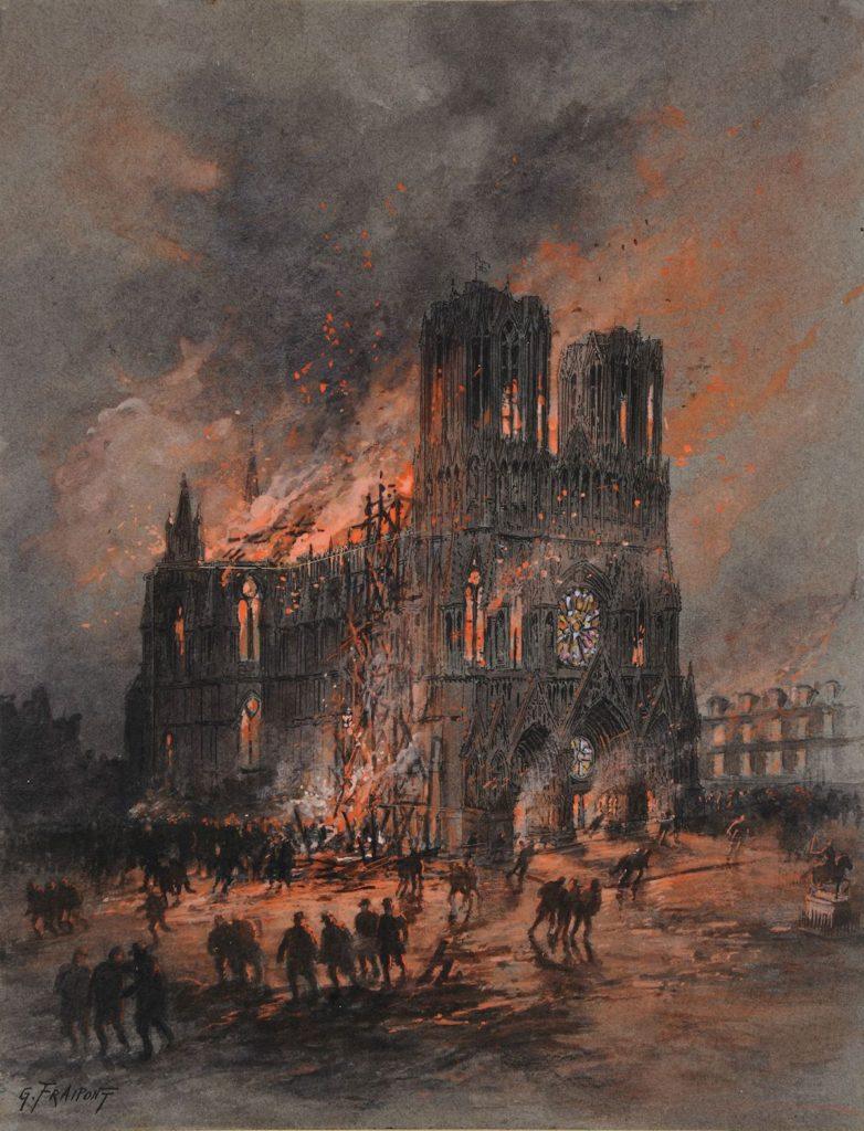 L'incendie de la cathédrale de Reims(El Incendio de la Catedral de Reims)- Gustave Fraipont, 1914