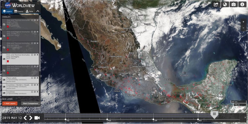 Los 144 incendios forestales en México, vistos desde el espacio
