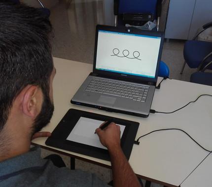 Prueba de escritura sobre tableta digital realizada para el estudio. / Universidad de Jaén