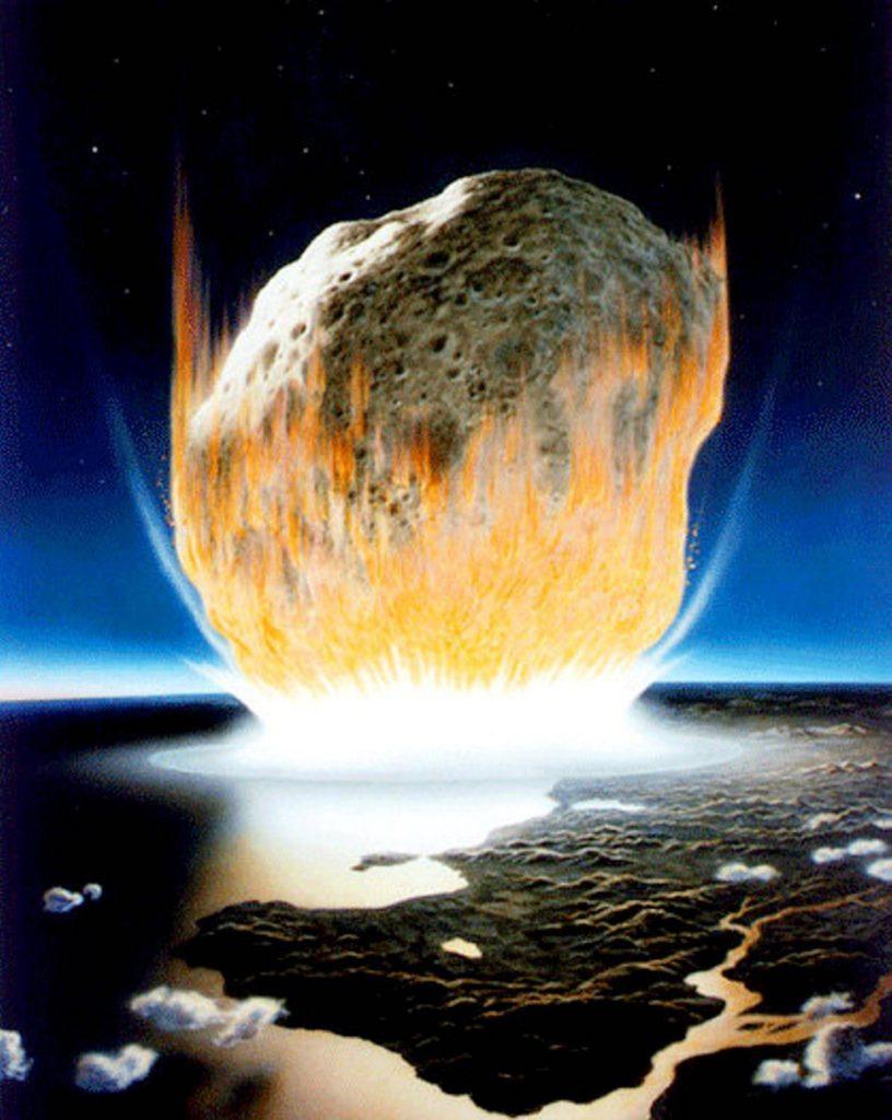 Representación artística del impacto del asteroide que formó el cráter de Chicxulub y provocó la extinción de los dinosaurios- NASA, Don Davis